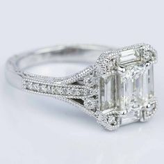 Antique Statement Emerald Diamond Engagement Ring in White Gold (1.41 ct.) | Image 03