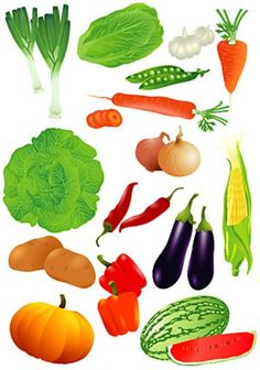 All kinds of vegetables and fruits vector material Photoshop World, Free Photoshop, Kinds Of Vegetables, Fruits And Veggies, Vegetable Crafts, Vegetable Coloring Pages, Art For Kids, Crafts For Kids, Food Clipart