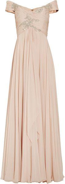 Marchesa Offtheshoulder Embellished Silkchiffon Gown in Pink (blush)