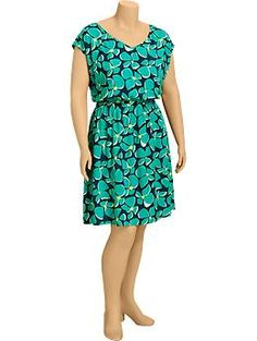Women's Plus Floral V-Neck Dresses #oldnavy #floraldress for #plussize women. I would definitely suggest adding a hot pink waist belt where it folds in paired with a fitted blazer!
