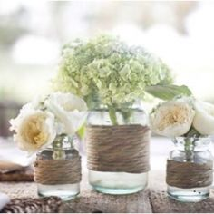 mason jars and wildflowers for centerpiece