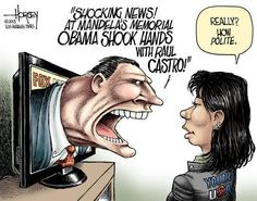 """Despite what we may think about Cuba or Castro, Presidential protocol requires """"polite"""", I think. To snub a country and its leader in such a public forum is to burn any bridge to diplomacy that may exist. Political Images, Political Views, Political Cartoons, Rush Limbaugh, Shocking News, Shake Hands, Tomorrow Will Be Better, Young People, Real People"""