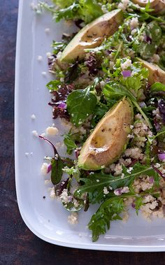 Roast Avocado and Couscous Salad. With red onions and  mixed greens.