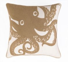 Beautifully done neutral pillows for the beach! Embroidered khaki-tan large…