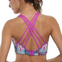 5ade18b9767c2 CharmLeaks Womens WorkOut Wirefree Cross Back Padded Running Yoga Sports Bra