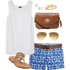 White top with printed shorts