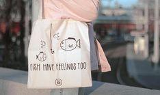 Vegan Tote Bag Fish Have Feelings Too