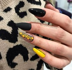 Summer Nail Designs - My Cool Nail Designs Cute Nails, Pretty Nails, Nail Art Arabesque, Work Nails, Leopard Nails, Manicure E Pedicure, Yellow Nails, Cool Nail Designs, Creative Nails