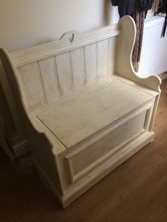 Stunning solid pine country style monks bench. Made to order. Painted with an aged effect. Find it at Facebook.com/sew Shabulous