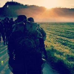 walking into sunrise.