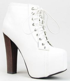 Lace Up Wooden Chunky High Heel Bootie  Visit ziftit.hardpin.com