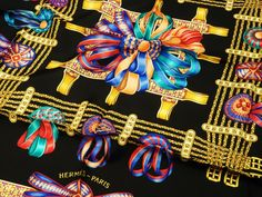 Authentic Pre Owned Hermes Silk Scarf Les Rubans du Cheval Rare Colorway Black