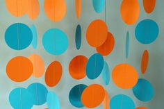 Beachy Orange and Blue Paper Garland, Birthday Party Decorations, 10 ft. via Etsy