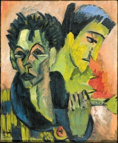 Ernst Ludwig Kirchner - Self-portrait with a Girl (Double Portrait with Erna by Ernst Kirchner), 1914-15
