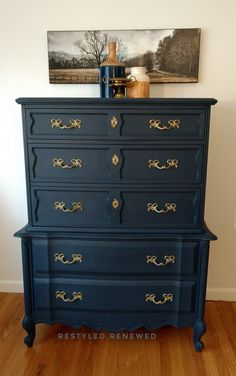 Annie Sloan chalk paint. A mix of napoleonic blue and graphite chalk paint. My clients wanted a really deep blue gray. I mixed up the colors, using more napoleonic blue than graphite. What a beautiful deep navy blue. Sealed with clear wax. French provincial dresser. Deep navy blue dresser.