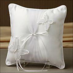 Ring Bearer Pillow - Radiant Butterfly - White