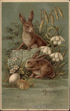 """Vintage postcard of bunnies with colored eggs and flowers, """"Easter Greetings"""" easter images Easter Art, Easter Crafts, Easter Bunny, Happy Easter, Vintage Cards, Vintage Postcards, Easter Illustration, Easter Pictures, Easter Parade"""