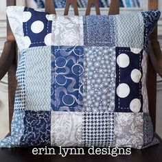 Navy White and Gray Hand Quilted Pillow Cover on Etsy, $35.00