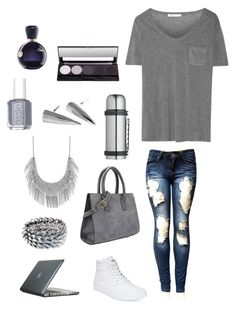 """Gray"" by baileyp1225 ❤ liked on Polyvore featuring T By Alexander Wang, Vans, Speck, Master Class, Majique, Lucky Brand, Essie and Lacoste"