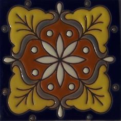 High relief tile 'Irene' from Mexico is ideal for any indoor outdoor decor project. Use relief tile alone or combine them into creative mosaics. Our Mexican ceramic tile is meant for home renovation and new construction projects. Hand painted tiles include many rustic colors and sizes #myMexicanTile