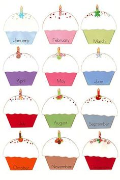 birthday cupcakes to post class birthdays. Print, Laminate and write birthdays w… birthday cupcakes to post class birthdays. Print, Laminate and write birthdays with vis-a-vis markers. Wipe and use for the next year! Class Birthday Display, Birthday Wall, Birthday Cupcakes, Free Birthday, Birthday Month, Happy Birthday, Birthday Graph, Cupcakes Kids, Ladybug Cupcakes