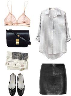Leather Skirt Shirt Stripes Bralette Bag Black