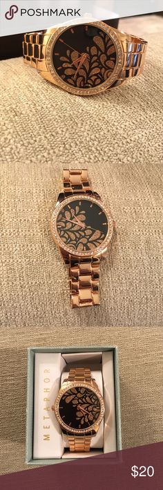 Fashion Watch Rose gold watch with beautiful design on the face of the watch. Never worn, perfect condition. Very unique and beautiful! 💕 Metaphor Accessories Watches