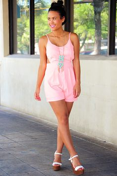 9f2696fe4979f Story Of A Girl Romper: Pink- Use code THOLLISREP at checkout to save 10