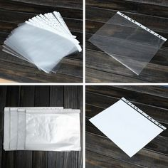 100Pcs A4 Clear Plastic Punched Punch Pockets Folders Filing Wallets Sleeves Bag