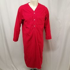 Vtg LANDS END Red Cotton Flannel Nightshirt MADE IN USA Mens M Christmas  Pajamas  LandsEnd 8f24343d2
