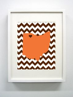 Bowling Green Ohio State Giclée Print 8x10 Orange by PaintedPost, $15.00 #paintedpoststudio - Bowling Green State University - Falcons- What a great and memorable gift for graduation, sorority, hostess, and best friend gifts! Also perfect for dorm decor! :)