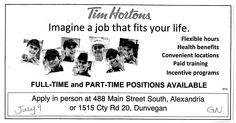 Job Posting at Dunvegan Time Hortons- Demande d'emploi au Tim Hortons de Dunvegan  See our website for other jobs! Voir notre site web pour autres postes!  http://www.giag.ca/employment-services/