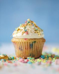 These lucky charms cupcakes and super fun! They are made with cereal milk, filled with tons of sprinkles and topped with fluffy cream cheese frosting. These are perfect for Saint Patrick's Day and anytime you want a super fun dessert! Cupcake Recipes, Cupcake Cakes, Dessert Recipes, Yummy Recipes, Köstliche Desserts, Delicious Desserts, French Desserts, Plated Desserts, Cereal Milk
