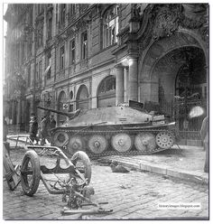 """German tank destroyer Jagdpanzer 38 (t) """"Hetzer"""" shot down during the Prague Uprising, may 1945 - pin by Paolo Marzioli Ww2 Panzer, Luftwaffe, Ww2 Photos, Photographs, Tank Destroyer, Army Vehicles, Armored Vehicles, Armored Fighting Vehicle, Military Pictures"""