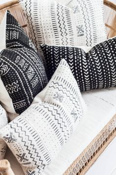 African mudcloths come in the most amazing geometric patterns, these were made into decorative pillows  #etsy