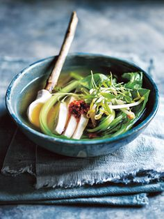 Fragrant with lemongrass and ginger this chicken  soup will warm you up.