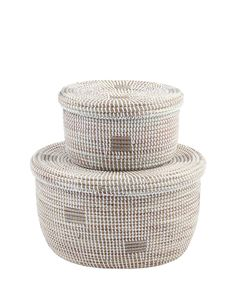 Oval Nesting Baskets - Silver Dot