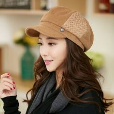 Fashion wool newsboy cap for women beret winter hats. Tan to tie in the LL Beans