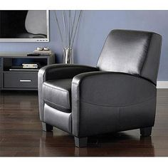 Rhys Mid Century Leather Recliner Recliner Living room accents