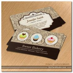 Sweet Bakery Store - Lovely Custom Cupcakes Business Card created by CardHunter.