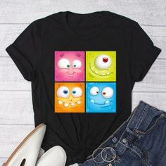 Cute Cartoon Monster T-Shirt, Unisex T-Shirt, Cartoon Monster Graphic T-Shirt, Monster T-Shirt, by FunTeazz on Etsy Cartoon Monsters, Jersey Shorts, Dark Colors, Cute Cartoon, Short Sleeve Tee, Cool T Shirts, Unisex, Trending Outfits, Tees