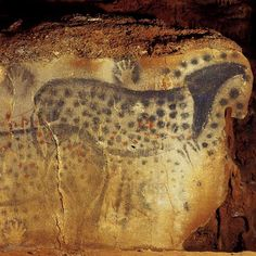 Spotted Horse and Human Hand, Pech-Merle Cave, Paleolithic Figure Dorgogne, France Painted on limestone c. BCE page 1 Zoe Baerenwald Ancient History, Art History, History Museum, Paleolithic Art, Paleolithic Period, Lascaux, Cave Drawings, Horse And Human, Art Ancien