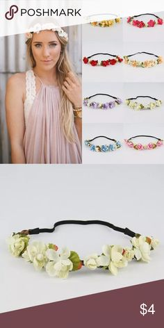 WHITE FLORAL HEADBAND White floral style. Elastic band fits most. Fashion Chic Accessories Hair Accessories