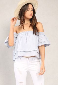 Tiered Crochet-Trimmed Off-The-Shoulder Top