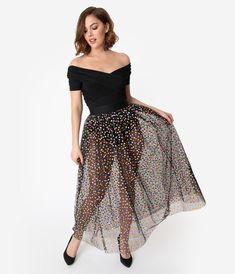 Black   Multicolor Polka Dot Mesh Tulle Kiara Long Skirt. Vintage Closet ... d9d95df6f