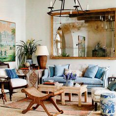 Layers, stripes, blue and white, chinoiserie, Anglo-Indian accents in this months' Always so much to love and inspire Vintage Home Decor, Rustic Decor, Chinoiserie, Home Furniture, Outdoor Furniture Sets, Ferrat, Painted Chairs, White Rooms, Decoration