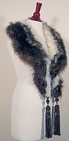 1920s to 1930s Vintage Tasseled Marabou Stole in Brown and White