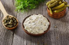 Why buy jarred tartar sauce when homemade takes about five minutes to make? Classic tartar sauce can be made with dill or sweet pickles, depending on your. Fish And Chips, Sauce Recipes, Cooking Recipes, Chewy Ginger Cookies, French Sauces, Homemade Tartar Sauce, Dips, Sweet Pickles, Pickled Onions