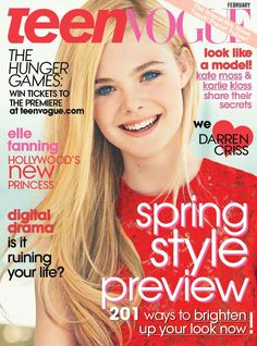Elle Fanning graces the February 2012 cover of Teen Vogue wearing a red lace Miu Miu dress. You will be pleased to know that the teen who you vote Best Vogue Magazine Covers, Vogue Covers, Vogue Magazine Subscription, Sebastian Kim, Fanning Sisters, Cosmo Girl, Dakota And Elle Fanning, Win Tickets, Fashion Cover
