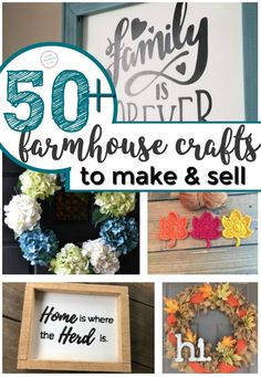 JoAnna Gaines farm house look is SO POPULAR right now! Here are over 50 DIY farmhouse crafts you can make sell at craft fairs or flea markets! Its a long list of easy project ideas…all super simple things even kids Diy Projects To Sell, Crafts For Teens To Make, Easy Projects, Project Ideas, Kids Diy, Craft Fair Ideas To Sell, Craft Ideas, Diy Ideas, Craft Projects